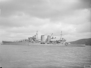 HMS Exeter (68) - Exeter at anchor, early 1941