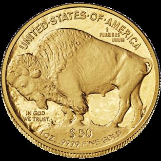 American Buffalo (coin) - Image: Buffalo $50 Reverse