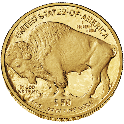 reverse side of the $50 American Gold Buffalo coin