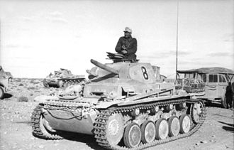 First Battle of El Alamein - A Panzer II of the Afrika Korps.