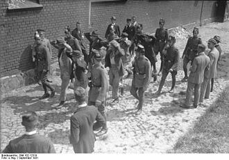 Sicherheitspolizei (Weimar Republic) - Police cadets at an Academy in Brandenburg an der Havel practice marching insurgents.