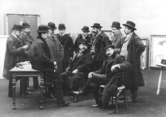 Berlin Secession - Jury for the Berlin Secession 1908 exhibition. From the left: sculptors Fritz Klimsch and August Gaul, painters Walter Leistikow and Hans Baluschek, art dealer Paul Cassirer, painters Max Slevogt (sitting) and George Mosson (standing), sculptor Max Kruse, painters Max Liebermann (sitting), Emil Rudolf Weiß and Lovis Corinth.
