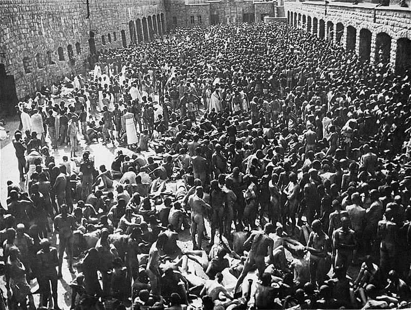 Bundesarchiv Bild 192-207, KZ Mauthausen, Häftlinge bei der Desinfektion