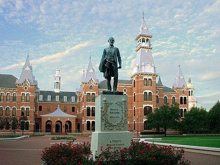 Rufus Columbus Burleson statue in front of Burleson Quadrangle at Baylor University Burleson.jpg