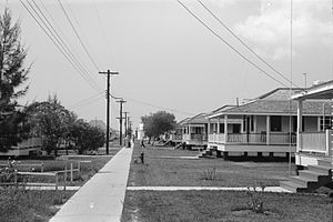 Burrwood, Louisiana - Row of cottages, Burrwood, Louisiana, 1938.