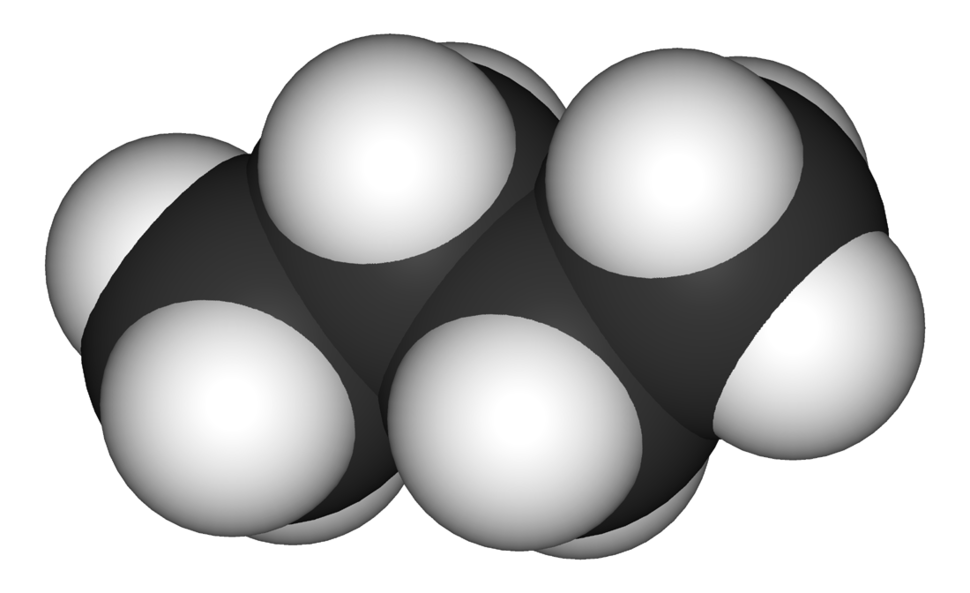 Space-filling model of the butane molecule