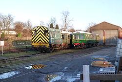 Butterley railway station, Derbyshire, England -trains-19Jan2014.jpg