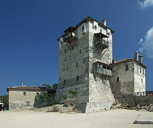 Ouranoupoli - The old tower at the beach.