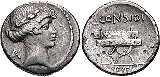 Considia (gens) - Denarius of Gaius Considius Paetus, 46 BC.  The obverse features Apollo.  The reverse depicts a curule chair, alluding to the right of Caesar to seat on such a chair between the consuls in the Senate received after the Battle of Thapsus.