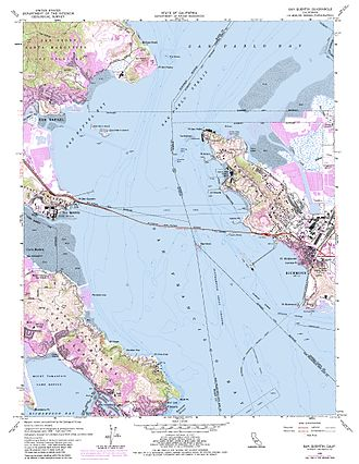 The Brothers (San Francisco Bay) - USGS Topographic Map of San Rafael Bay area.