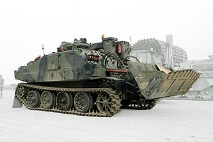 FV180 Combat Engineer Tractor - A FV180 Combat Engineer Tractor with its back facing towards the camera
