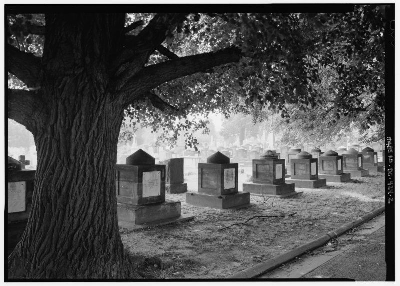 CLOSER VIEW OF CENOTAPHS ALONG ROADWAY - Congressional Cemetery, Latrobe Cenotaphs, Eighteenth and E Streets, Southeast, Washington, District of Columbia, DC HABS DC,WASH,255-2
