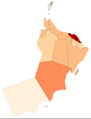 COVID-19 Pandemic Cases in Oman by Governorates (per capita).png