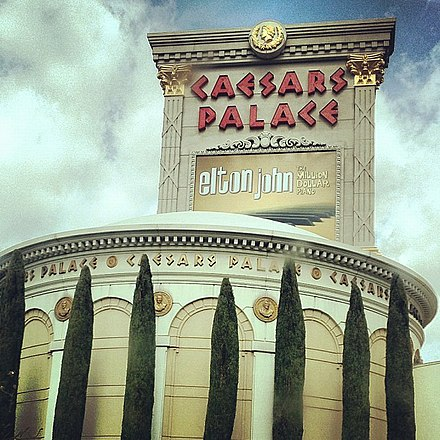 Elton John has had two residencies at Caesars Palace, Las Vegas. The first, The Red Piano, ran from 2004 to 2009, and the second, The Million Dollar Piano (sign pictured) ran from 2011 to 2017. Caesars Palace Las Vegas Nevada 8286720132 o.jpg