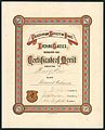 Caledonian Society of Otago -Evening classes session 1882. Certificate of merit awarded to Henry Moir, class Advance Arithmetic. (Signed by) Joh. Wain, president; George Watson, secretary; John (21561686896).jpg