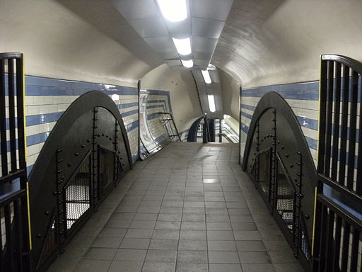 Camden Town tube station, underground passageway to platforms, London 3 June 2011