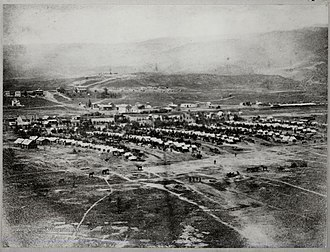 Keyser, West Virginia - Encampment of the 22nd Pennsylvania Cavalry at New Creek, 1865.  The hill with Fort Fuller can be seen in the distance.