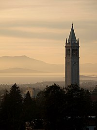Berkeley with the Sather Tower in the foreground.