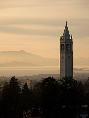 University of California, Berkeley - Sather Tower (the Campanile) looking out over the San Francisco Bay and Mount Tamalpais