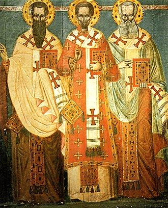 Cargèse - The Three Hierarchs, one of the paintings brought to Corsica by the Greek colonists in 1676.