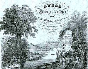 "Carmelo Fernández - Cover of the ""Physical and Political Atlas of Venezuela"", drawn by Fernández. (1840)"