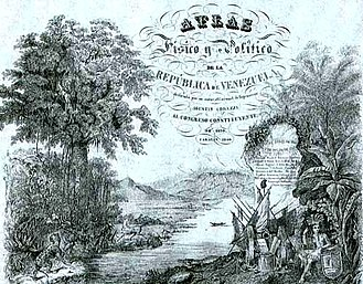 """Carmelo Fernández - Cover of the """"Physical and Political Atlas of Venezuela"""", drawn by Fernández. (1840)"""