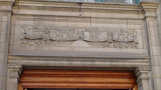 "Let there be light - The phrase ""Let there be light"" used metaphorically over the door of Central Library, a Carnegie library in Edinburgh"