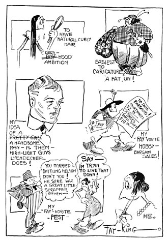 """Fay King (cartoonist) - 1918 autobio strip (""""Cartoonist's Confessional"""", in Cartoons Magazine). Second-to-last cartoon refers to her mariage with boxer """"Battling"""" Nelson."""