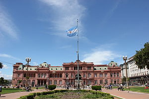 Flag of Argentina - The flag at Plaza de Mayo, in front of the Casa Rosada.