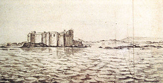 Essaouira - The Portuguese-built Castelo Real of Mogador was defended under Abd el-Malek II by a garrison of 100 Moroccans. It was drawn by Adriaen Matham in 1641.