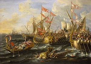 Battle of Actium - A baroque painting of the battle of Actium by Laureys a Castro, 1672. The Maritime Museum of Greenwich, Director's office, UK
