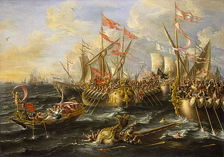 The Battle of Actium, by Laureys a Castro, painted 1672, National Maritime Museum, London. Castro Battle of Actium.jpg