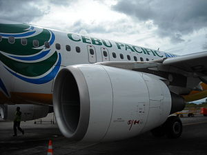 English: Cebu Pacific Air A319 in Lumbia Airpo...