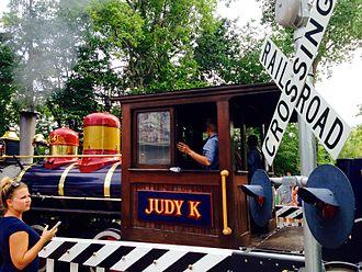Cedar Point & Lake Erie Railroad - Judy K. locomotive at Gemini Midway grade crossing.