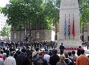 A ceremony at the Cenotaph, London, on Sunday 12 June 2005, remembering Irish war dead.