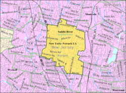 Census Bureau map of Saddle River, New Jersey