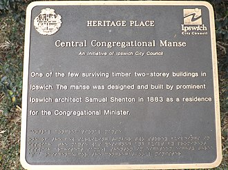 City of Ipswich - Council plaque at the Central Congregational Church Manse, 2015