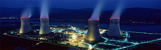 Energy in France - The Cruas nuclear power plant at night