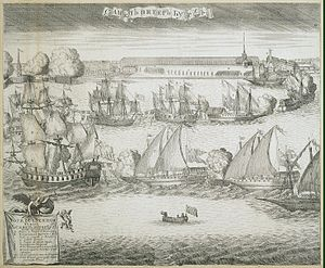 Battle of Grengam - Ceremonial entrance of four captured Swedish frigates into Saint Petersburg. Etching by Alexei Zubov.