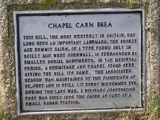 Chapel Carn Brea - Plaque on Chapel Carn Brea