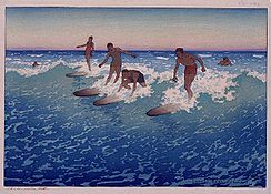 Charles W. Bartlett - 'Surf-Riders, Honolulu'., 1919, Color woodcut, Honolulu Academy of Arts.jpg