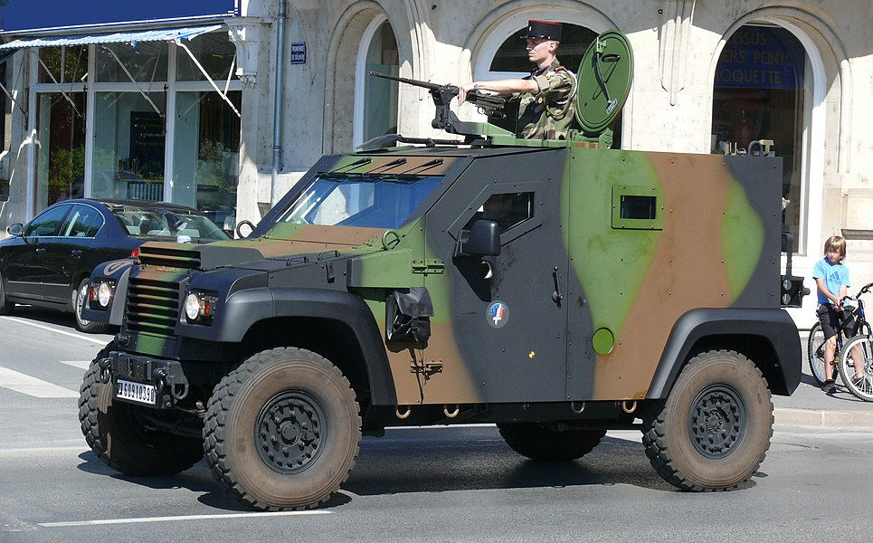 Petit Véhicule Protégé of the 3rd regiment engineers, 1st Mechanised Brigade of the French Armée de Terre during the Bastille Day Parade in Charleville Mézières, 2010.