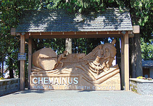 Chemainus - Sign in the town of Chemainus, on Vancouver Island, British Columbia.