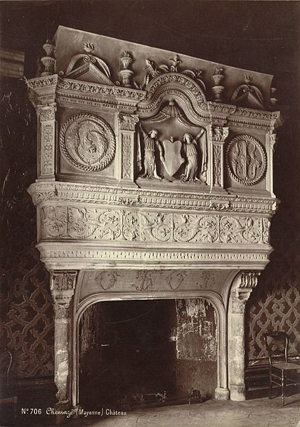 Collection: A. D. White Architectural Photographs, Cornell University LibraryAccession Number: 15/5/3090.01348Title: Chemazé. Château de Saint-Ouen, Fireplace Photographer: Séraphin Médéric Mieusement (French, 1840-1905) Building Date: ca. 1500-ca. 1599 Photograph date: ca. 1874-ca. 1890Location: Europe: France; ChemazéMaterials: albumen print Image: 13.8976 x 9.7638 in.; 35.3 x 24.8 cmStyle: RenaissanceProvenance: Gift of Andrew Dickson WhitePersistent URI: http://hdl.handle.net/1813.001/5tj4 There are no known copyright restrictions on this image.  The digital file is owned by the Cornell University Library which is making it freely available with the request that, when possible, the Library be credited as its source. We had some help with the geocoding from http://developer.yahoo.com/