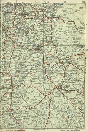 A624 road - Early 1950s pre-motorway map showing the old routes of local roads including the A624