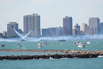 Chicago Air & Water Show - Military aircraft perform over Lake Michigan