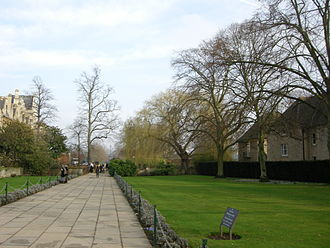 Broad Walk - View east along Broad Walk from the Christ Church War Memorial Garden near St Aldate's at the western end.