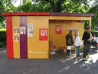 Christian Democratic Party (Norway) - Campaign booth on Karl Johans gate ahead of the Norwegian local elections, 2007.