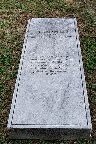 Clark Mills (sculptor) - Grave of Clark Mills at Glenwood Cemetery in Washington, D.C.