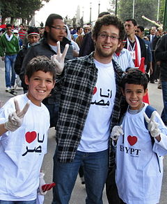 Clean-up volunteers in Tahrir
